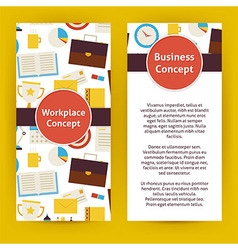 Flyer template of flat design business workplace vector