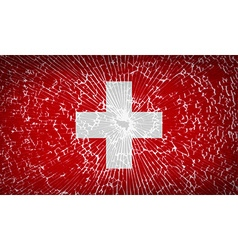 Flags switzerland with broken glass texture vector