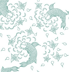 Seamless pattern with hand drawn fishes flowers vector