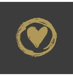 Hand drawn gold ink heart stamp vector image