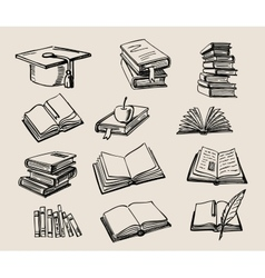 Books stack sketch vector