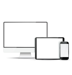 Set computer monitor tablet and mobile phone vector image