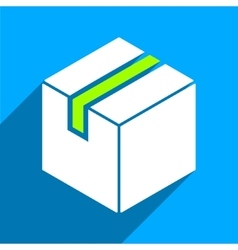 Package flat square icon with long shadow vector