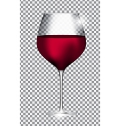 Full glass of red wine on transparent background vector