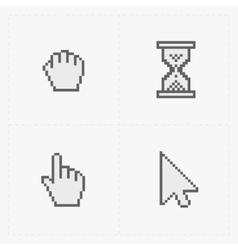 Pixel cursors icons on white vector