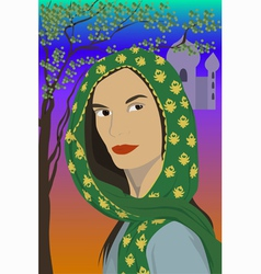Woman in scarf vector
