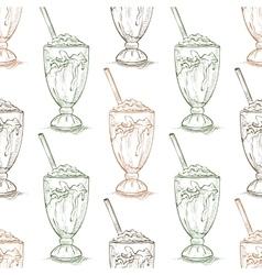 Seamless pattern vanilla milkshake scetch vector