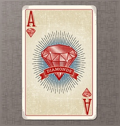ace of diamonds vintage playing card vector image