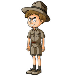 boy in safari outfit with serious face vector image