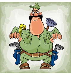 Cartoon fat man plumber with a mustache with tools vector