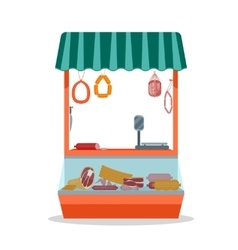 Cartoon Meat Store with Products vector image