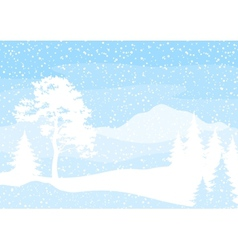 Christmas background trees and snow vector image vector image