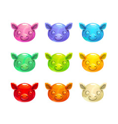 Cute jelly pig faces vector
