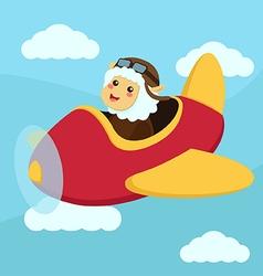 Cute sheep aviator flying vector
