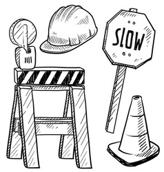 doodle road construction vector image vector image
