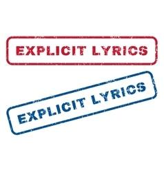 Explicit lyrics rubber stamps vector