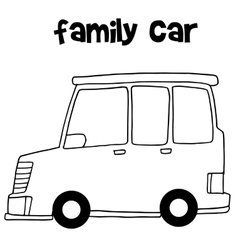 Family car with hand draw vector image vector image