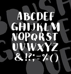 Hand drawn alphabet written with brush pen vector image vector image