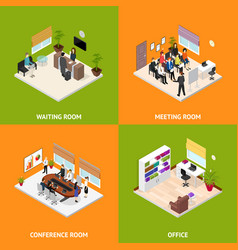 interior office room poster card set isometric vector image vector image