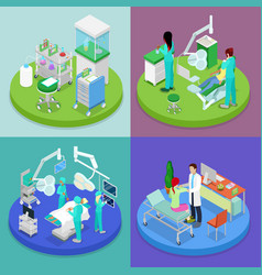 isometric medical clinic health care concept vector image vector image