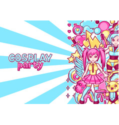 Japanese anime cosplay party invitation cute vector