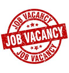 Job vacancy round red grunge stamp vector