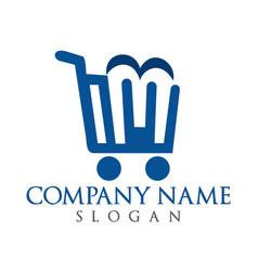 letter m shopping logo design vector image