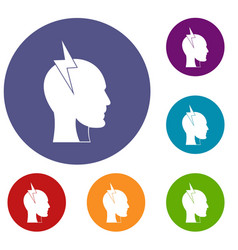 Lightning bolt inside head icons set vector