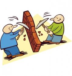 Men breaking the wall vector