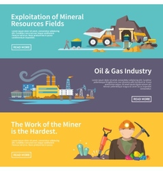 Miner Banner Set vector image vector image