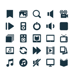 Music icons set collection of album pause vector
