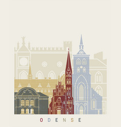 odense skyline poster vector image vector image