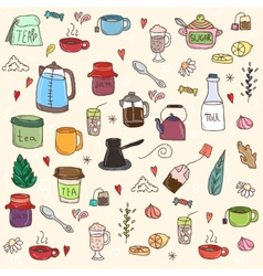 Tea and all stuff - Hand-drawn seamless vector image