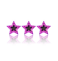 Three gold pink stars on white background vector