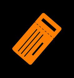 Ticket simple sign orange icon on black vector