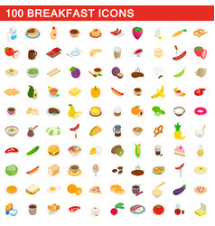 100 breakfast icons set isometric 3d style vector image vector image
