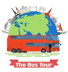 The bus tour of europe and popular familiar vector