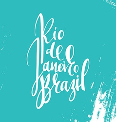 Inscription rio de janeiro brazil background blue vector