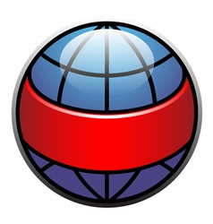 Globe label with red ribbon vector