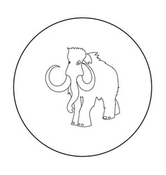 Woolly mammoth icon in outline style isolated on vector