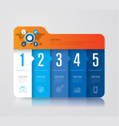 Folder infographics design with 5 options vector