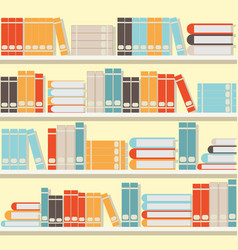 Colorful book on shelveslibrary or book store vector