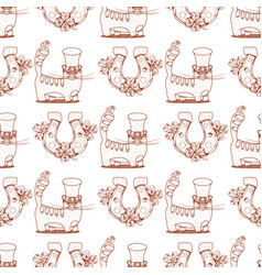 Seamless pattern with cat and horseshoe vector