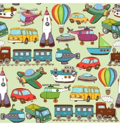 Cartoon transport pattern vector