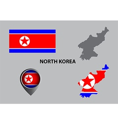Map of north korea and symbol vector