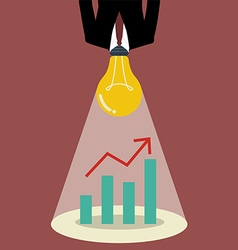 Businessman with a light bulb head glow to graph vector image
