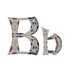 Low poly letter b in brown mosaic polygon vector