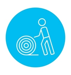 Man with wire spool line icon vector