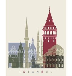 Istanbul skyline poster vector