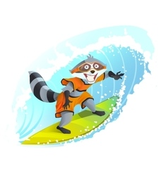 Joyful surfer raccoon summer holidays at sea vector